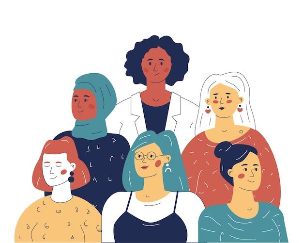 Team multietnico di donne leader, il concetto di uguaglianza negli affari. un'illustrazione per un sito web o un'applicazione.