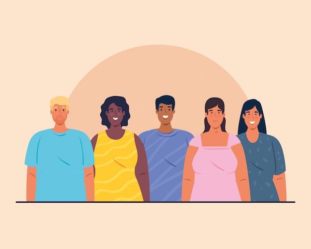 Giovani multietnici insieme, concetto culturale e di diversità