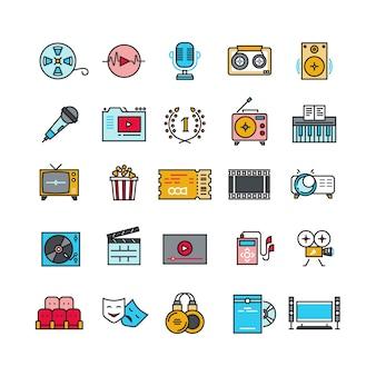 Multimedia audio audio musica radio video icone di linea sottile con elementi piatti