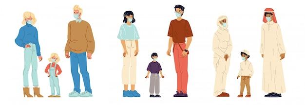 Set di maschere respiratorie multinazionali. famiglia con figli di nazionalità diverse. caucasico, europeo, islamico padre, madre, figlio. comunicazione, relazione. epidemia di coronavirus