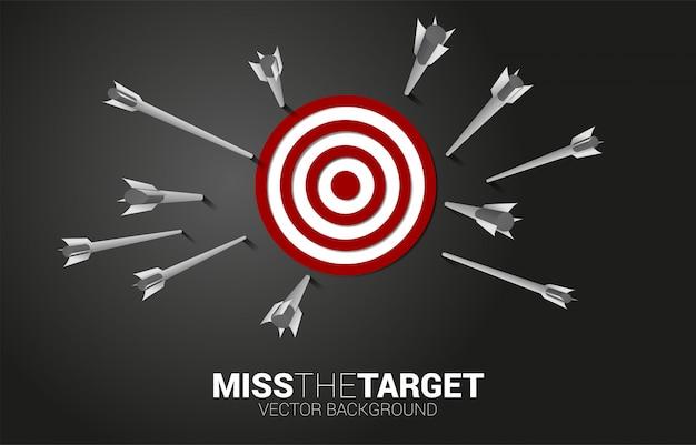 Tiro con l'arco a freccia multipla bersaglio mancante. concetto di business dell'obiettivo e del cliente di marketing. missione e obiettivo della visione aziendale.