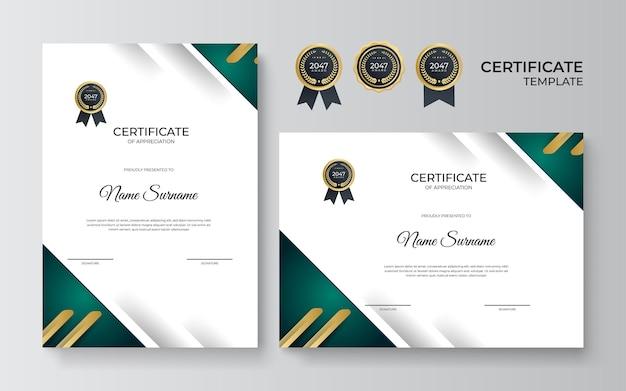 Modello di certificato multiuso di apprezzamento con colore verde e oro, design moderno di certificato di confine di lusso con distintivo d'oro