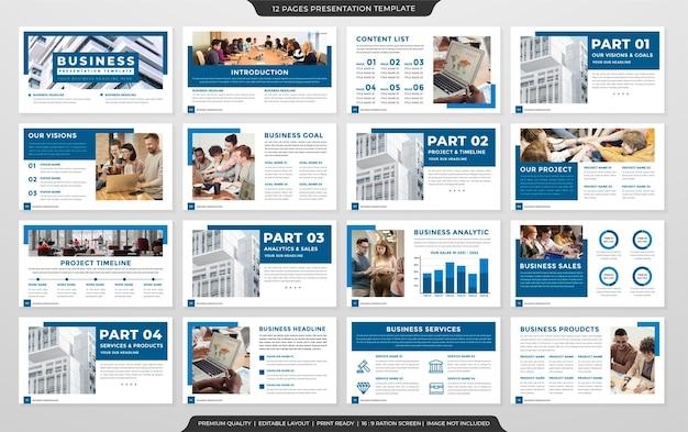 Design del modello di layout di presentazione pulito multiuso con un concetto minimalista