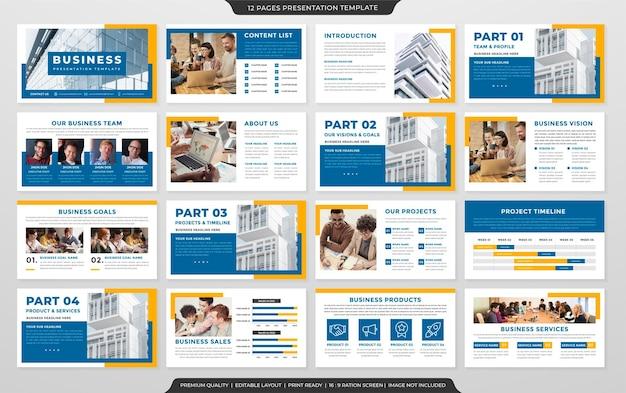 Design del modello di layout di presentazione multiuso con uno stile pulito e un concetto moderno