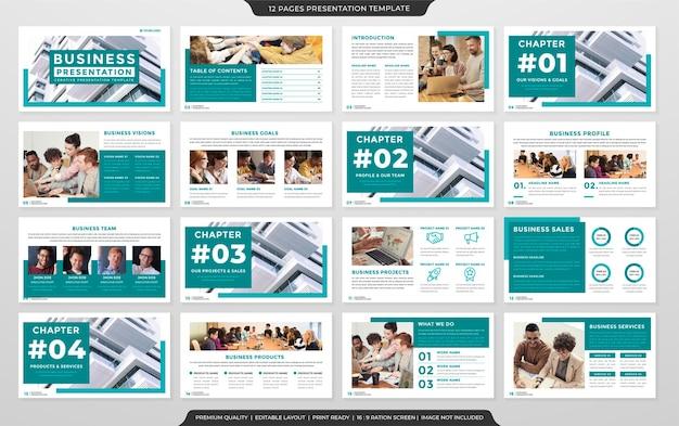 Design del modello di presentazione multiuso con un uso in stile moderno e minimalista per la relazione annuale aziendale
