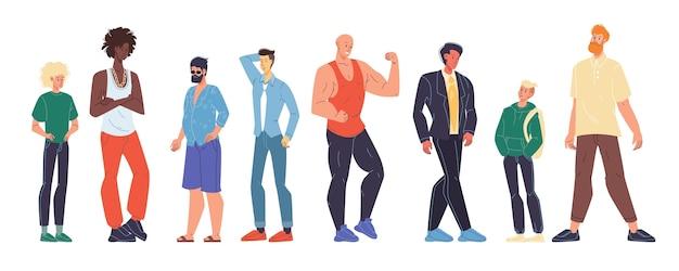 Uomo multirazziale di diversa età, nazionalità, aspetto, tipo di forma del corpo dimensioni, peso, altezza impostata.
