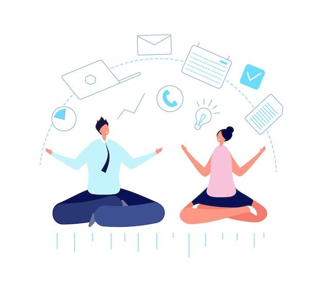 Persone d'ufficio multitasking. medita uomo d'affari, pianificazione del lavoro e disciplina di squadra. mente multitasking, illustrazione vettoriale di gestione intelligente. multitasking e mediazione aziendale