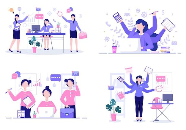 Illustrazione multitasking di donna o uomo d'affari
