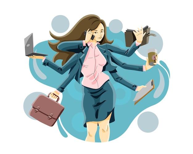 Illustrazione di donna d'affari multitasking