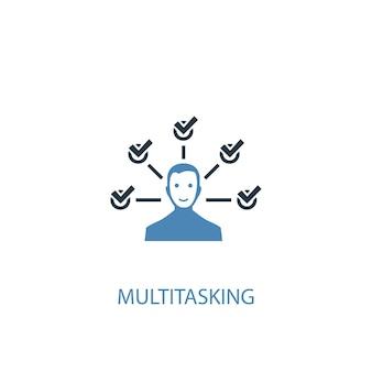 Concetto multitasking 2 icona colorata. illustrazione semplice dell'elemento blu. disegno di simbolo di concetto multitasking. può essere utilizzato per ui/ux mobile e web
