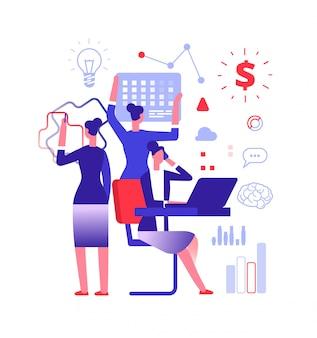 Concetto di multitasking. imprenditrice risolvendo compiti urgenti. illustrazione di vettore di abilità di gestione del progetto, realizzazione e lavoro