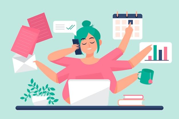 Illustrazione di concetto multitasking
