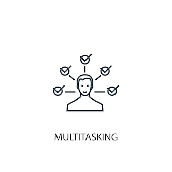 Icona della linea di concetto di multitasking. illustrazione semplice dell'elemento. disegno di simbolo di struttura di concetto multitasking. può essere utilizzato per ui/ux mobile e web