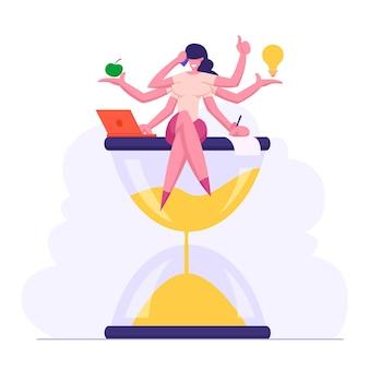 Illustrazione piana di concetto di successo aziendale efficiente multitasking