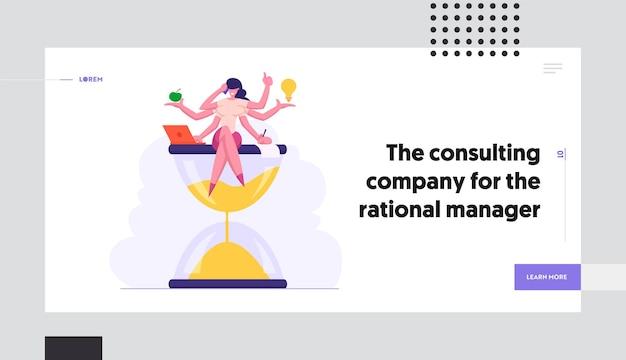 Set di pagina di destinazione del concetto di successo aziendale efficiente multitasking