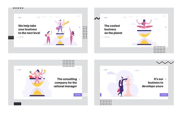 Set di pagine di destinazione concetto efficiente multitasking