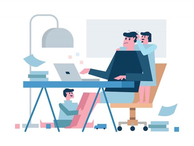 Padre multitasking che lavora da casa con i bambini. progetto di quarantena per la casa. illustrazione