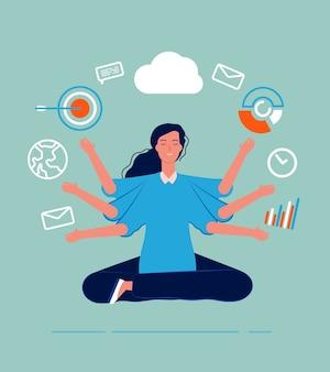 Femmina multitasking. business donna leader manager yoga seduto con molti obiettivi e si occupa di perfetta abilità processi di lavoro concetto. leader aziendale multitasking, lavoro illustrazione femminile