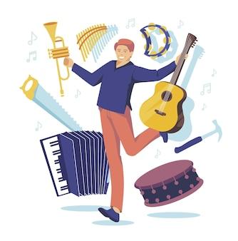 Multitasking manorchestra con molti strumenti chitarra fisarmonica tamburello tromba dru
