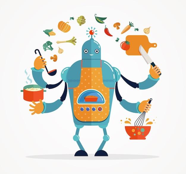 Chef robot multitasking che cucina e cucina