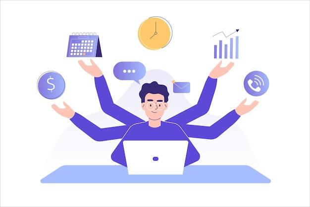 Uomo libero professionista di concetto di gestione del tempo e multitasking
