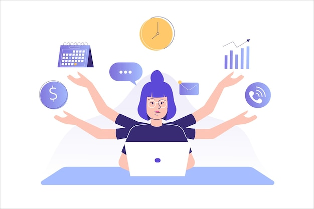 Multitasking e concetto di gestione del tempo donna freelance