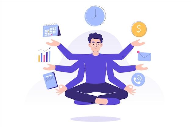 Multitasking e concetto di gestione del tempo a con lavoratore uomo