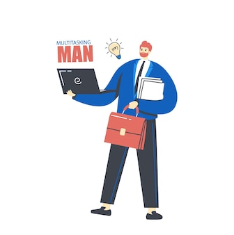 Illustrazione di multitasking e gestione del tempo