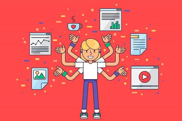 Sviluppatore web multitasking con molte mani. girl coder, programmatore, seo, smm marketing smeek lavorando su ottimizzazione di app e siti web.