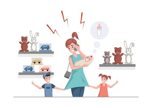 Donna multitasking con figlio, figlia e neonato al negozio di giocattoli