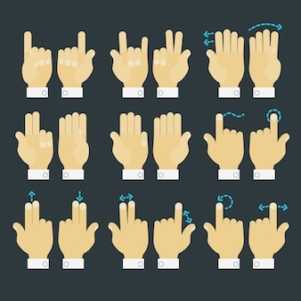 Set di icone mani gesto multitouch