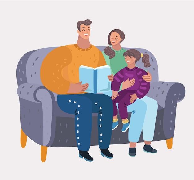La mamma legge il libro ai bambini