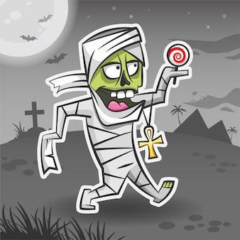 Mummia personaggio dei cartoni animati adesivo halloween mostro halloween illustrazione vettoriale vacanza adesivo