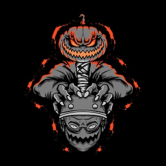 Mummia halloween che tiene la testa