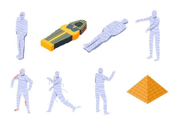 Set di icone di mummia, stile isometrico