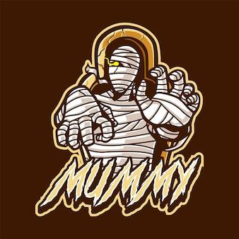 Logo della mascotte della mummia per esport e sport
