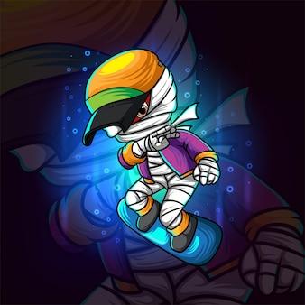 La mummia interpreta il disegno della mascotte esport dello skateboard dell'illustrazione