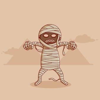 Disegno vettoriale di mummia con disegno di mummia di halloween doodle o stile piatto