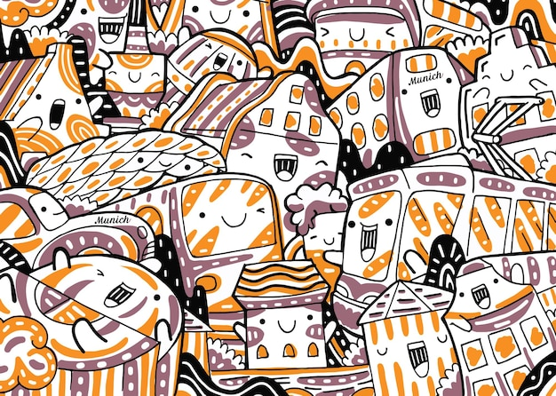 Paesaggio urbano di monaco di baviera doodle in stile design piatto