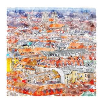 Illustrazione disegnata a mano di schizzo dell'acquerello di monaco di baviera germania