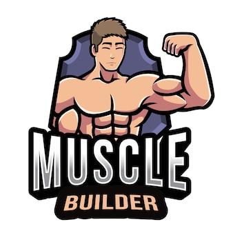 Modello di logo del costruttore di muscoli