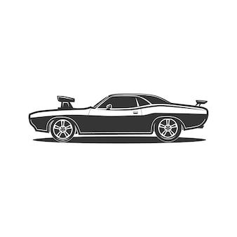 Illustrazione vettoriale vintage retrò di muscle car sport