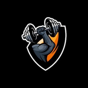 Design del logo muscolare con vettore