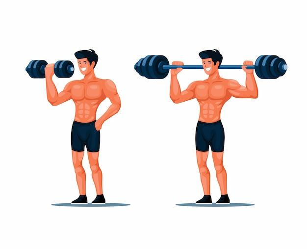 Esercizio muscolare uomo con sollevamento manubri atleta in palestra set di caratteri illustrazione vecto