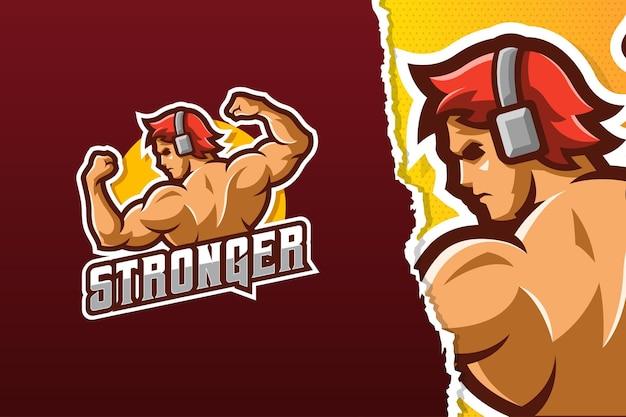 Modello di logo della mascotte dell'uomo del muscolo