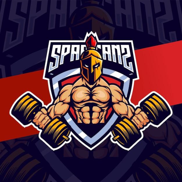 Mascotte muscolosa e spartana esport per il fitness e il design del logo sportivo