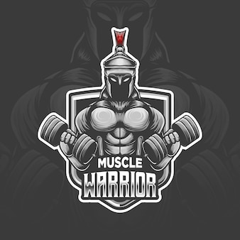 Icona del personaggio del logo esport del guerriero muscolare