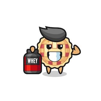 Il personaggio muscoloso della torta di mele tiene in mano un integratore proteico, un design in stile carino per maglietta, adesivo, elemento logo