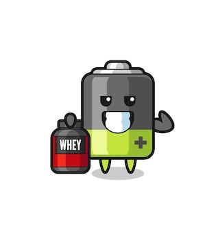 Il personaggio muscolare della batteria tiene in mano un integratore proteico, un design in stile carino per maglietta, adesivo, elemento logo