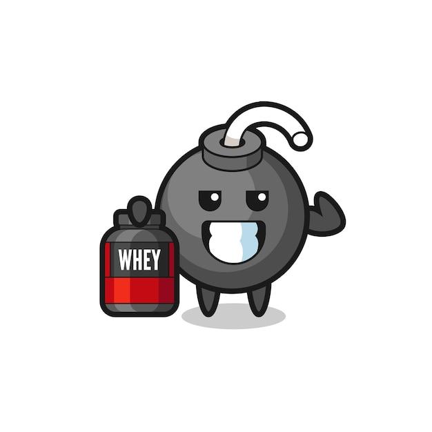 Il personaggio della bomba muscolare tiene in mano un integratore proteico, un design in stile carino per maglietta, adesivo, elemento logo